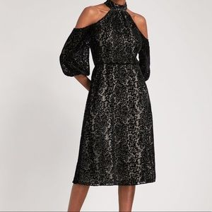Alice + Olivia Ruthann Velvet cold shoulder dress